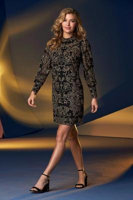 Lace Mock-Neck Shift Dress
