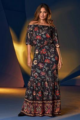 Off-The-Shoulder Border Print Tiered Maxi Dress