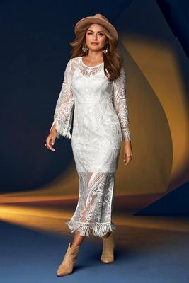 Flare-Sleeve Lace And Fringe Dress