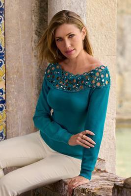 Embellished Off-The-Shoulder Sweater