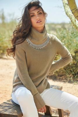 Display product reviews for Embellished Turtleneck Sweater
