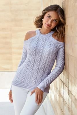 Cable Cold-Shoulder Sweater