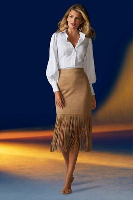 Display product reviews for Faux-Suede Fringe Skirt