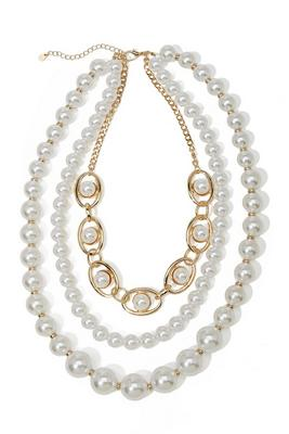 Pearl And Link Three-Strand Necklace