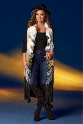 Chevron Faux Fur Statement Vest