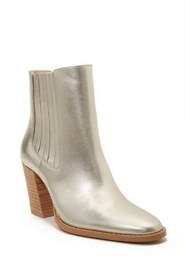 Gold Metallic Leather Bootie