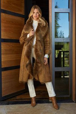 Faux-Fur Cascading Coat