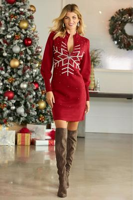 Snowflake Half Zip Sweater Dress