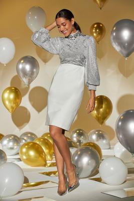 Sequin Balloon-Sleeve Sheath Dress