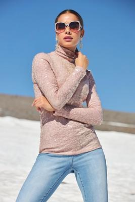 Sequin Knit Turtleneck Top
