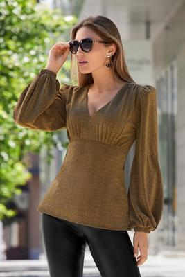 Shimmer Puff-Sleeve Plunge Top