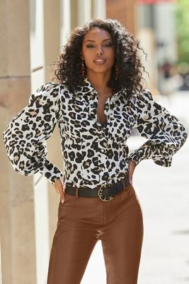 Display product reviews for Leopard Print Victoria Drama-Sleeve Shirt