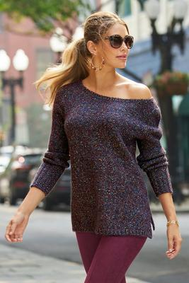Marled Slouchy Tunic Sweater