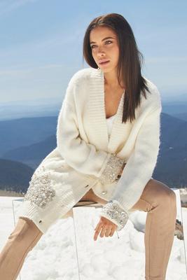 Pearl Embellished Long Cardigan Sweater