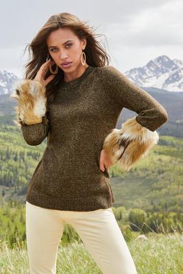 Lurex Faux-Fur Cuff Sweater