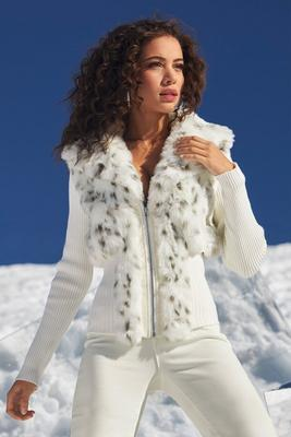 Snow Leopard Faux-Fur Cardigan Sweater