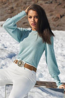 Display product reviews for Cashmere Button-Cuff Puff-Sleeve Sweater