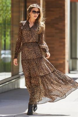 Animal Print Smocked Tiered Maxi Dress