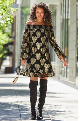 Gold Foil Floral Off-The-Shoulder Dress