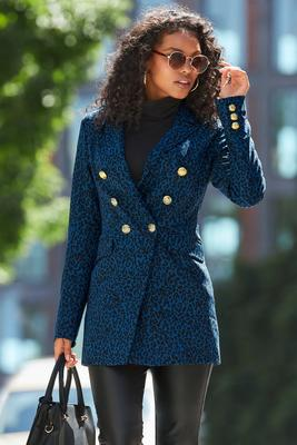 Beyond Travel Prussian Cheetah Printed Double-Breasted Knit Jacket
