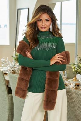 Embellished Illusion Mock-Neck Sweater