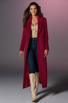 Long Faux-Wool Lined Topper Coat