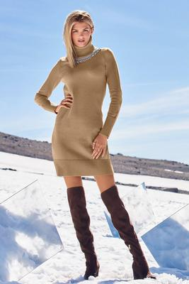 Rhinestone Embellished Turtleneck Sweater Dress