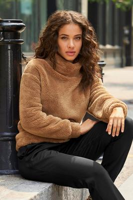 Mock-Neck Sherpa Pullover