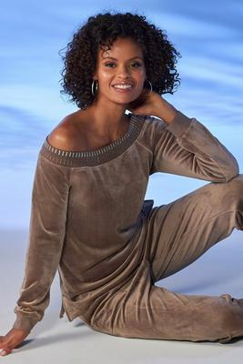 Slouchy Embellished Velour Top