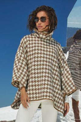 Houndstooth Faux-Leather Tipped Turtleneck Poncho