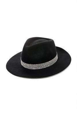 Rhinestone Trim Felt Hat