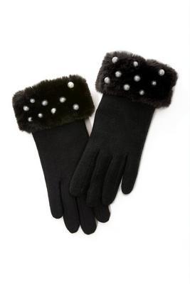Pearl Embellished Faux-Fur Gloves