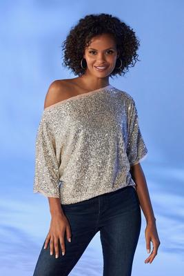 Sequin Slouchy Knit Top