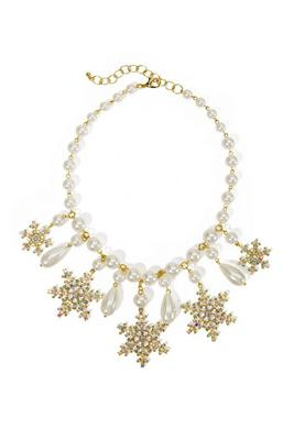 Pearl And Snowflake Necklace