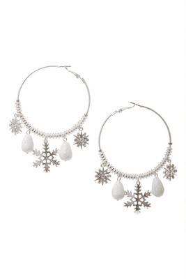 Snowflake Embellished Hoop Earrings