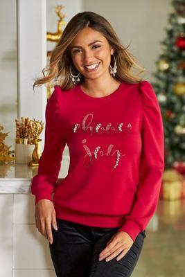 Choose Joy Faux-Pearl Sweatshirt