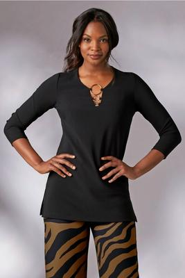 Beyond Travel™ Plus Size Three-Quarter Sleeve Hardware Top