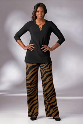 Beyond Travel™ Plus Size Animal Print Hight-Rise Palazzo Pant
