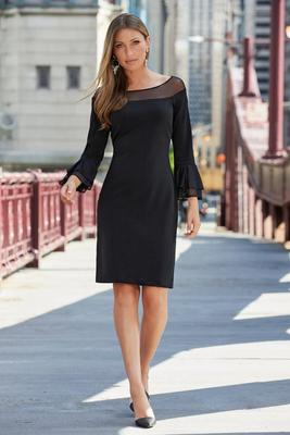 Beyond Travel Plus Size Illusion Ruffle-Sleeve Dress